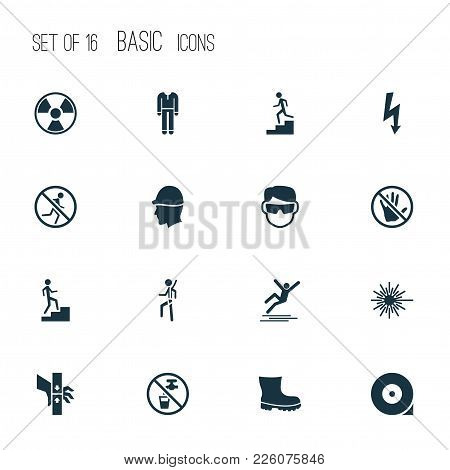 Protection Icons Set With Electrical Hazard, Light, Hat And Other Caution Elements. Isolated Vector