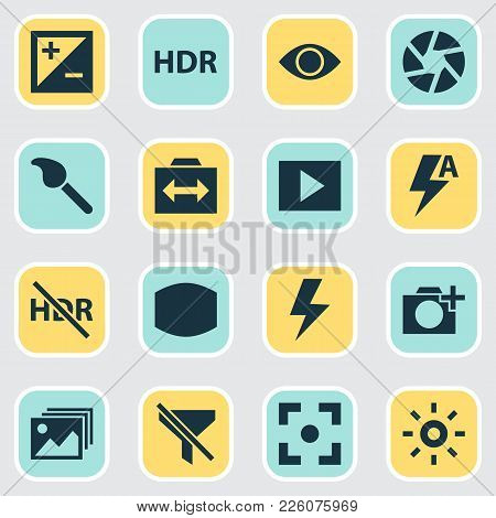 Photo Icons Set With Add A Photo, Exposure, Switch Cam And Other Paintbrush Elements. Isolated Vecto