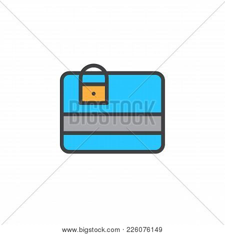 Credit Card Protection Filled Outline Icon, Line Vector Sign, Linear Colorful Pictogram Isolated On