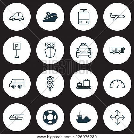 Delivery Icons Set With Sea Rescue, Plane, Speedometer And Other Streetcar Elements. Isolated Vector