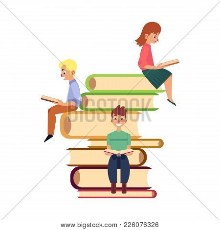 People, Men And Woman, Sitting, Reading On Giant Pile Of Books, Flat Cartoon Vector Illustration Iso