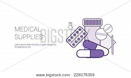 Medical Supplies Treatment Web Banner Template With Copy Space Thin Line Vector Illustration