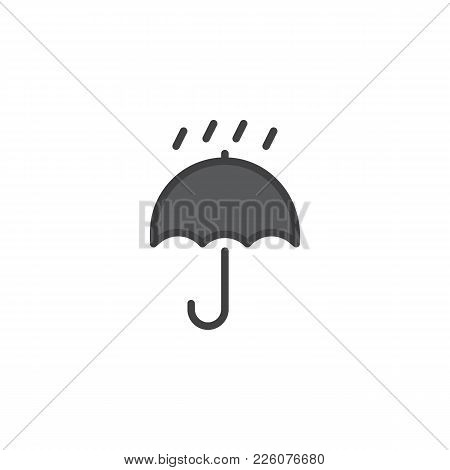 Packaging Sign Keep Dry With Umbrella And Drops Filled Outline Icon, Line Vector Sign, Linear Colorf