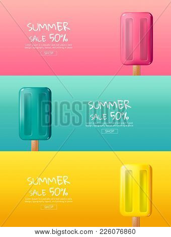 Hot Summer Sale , Cartoon, Colorful Ice Cream ,  Layout Design,  Banner,  Sweet ,template Design, Ve