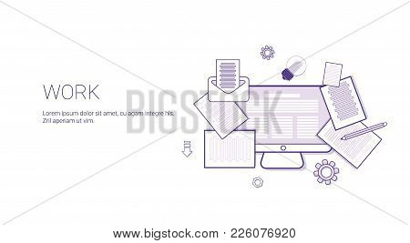 Work Business Office Occupation Web Banner Template With Copy Space Thin Line Vector Illustration