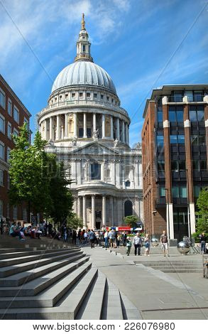LONDON-UNITED KINGDOM, June 5 2017:  St Paul's Cathedral is one of the most famous and recognisable sights of London. Its dome, has dominated the skyline for over 300 years in London, UK.