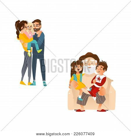 Vector Flat Family Hugging. Adult Couple Mother And Father Hug Blonde Girl Daughter Kid, Child, Elde