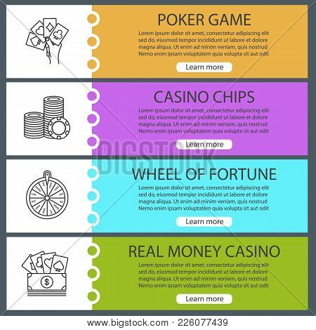 Casino Web Banner Templates Set. Poker, Casino Chips, Wheel Of Fortune, Real Money Game. Website Col