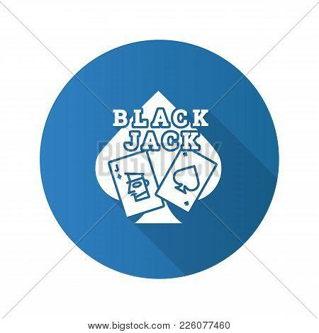 Blackjack Flat Design Long Shadow Glyph Icon. Card Game. Twenty One. Casino. Vector Silhouette Illus