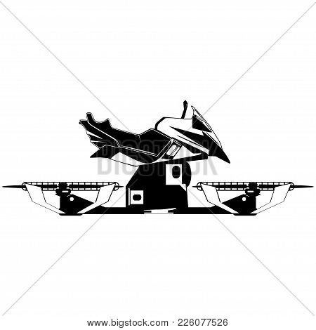 Vector Illustration Of Hover Bike. Hovering Motorcycle, Hovercraft, New Fun Personal Transport, Blac