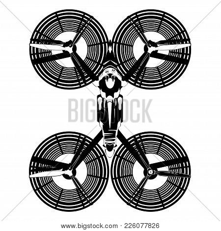 Vector Top View Illustration Of Hover Bike. Hovering Motorcycle, Hovercraft, The Next Generation Of