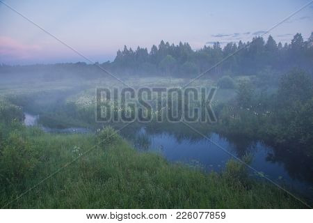 Summer Morning Dawn With A River Mist.