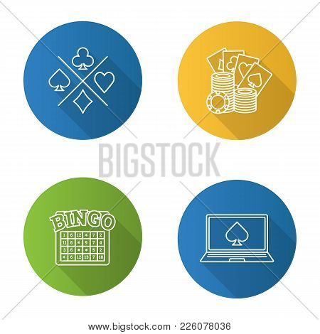 Casino Flat Linear Long Shadow Icons Set. Playing Cards Suits, Gambling Chips, Bingo Game, Online Ca