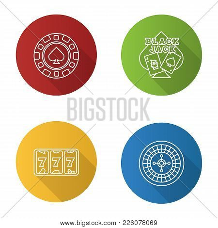 Casino Flat Linear Long Shadow Icons Set. Blackjack Game, Roulette, Casino Chip, Lucky Seven. Vector