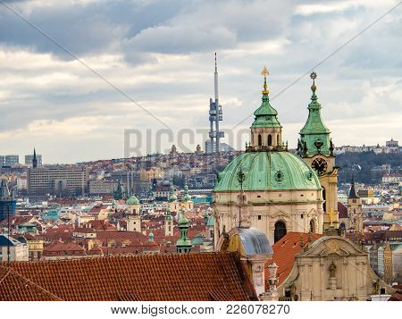 Church Of St. Nicholas, And Zizkov Tv Tower, Prague