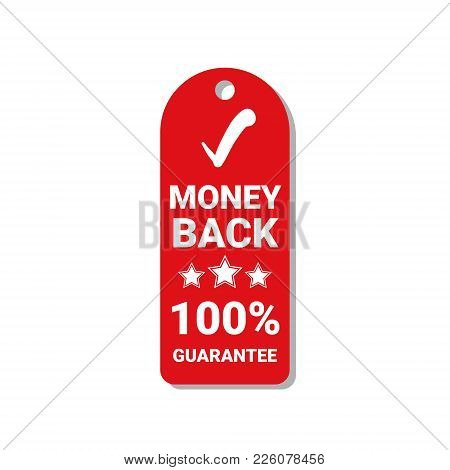 Red Tag Money Back Guarantee 100 Percents Label Isolated Vector Illustration