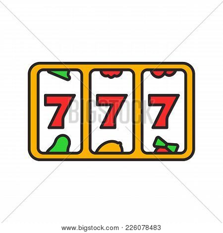 Slot Machine With Three Sevens Color Icon. 777. Lucky Seven. Casino. Isolated Vector Illustration