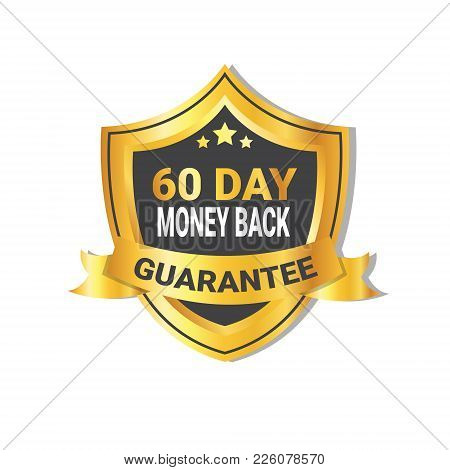 Golden Shield Money Back In 60 Days Guarantee Label With Ribbon Isolated Vector Illustration