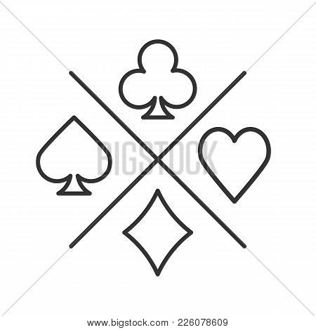 Suits Of Playing Cards Linear Icon. Spade, Clubs, Heart, Diamond. Thin Line Illustration. Casino Con