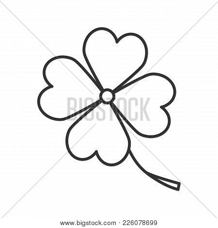 Four Leaf Clover Linear Icon. Symbol Of Success And Good Luck. Thin Line Illustration. Contour Symbo