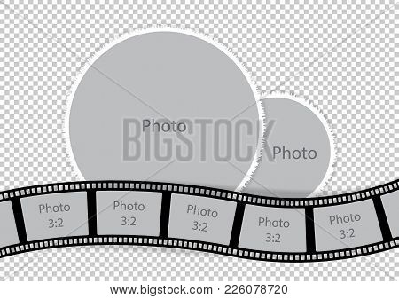 Round Photoframes With Film Strip For Family Album. Vector Illustration.