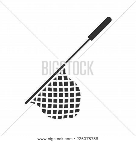 Scoop Net Glyph Icon. Fishing Gear. Hoop Net. Silhouette Symbol. Negative Space. Vector Isolated Ill