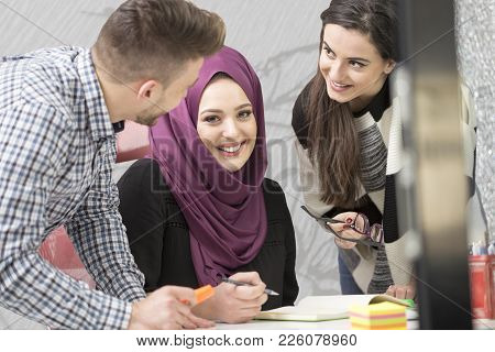 Young Creative Startup Business People On Meeting At Modern Office Making Plans And Projects.