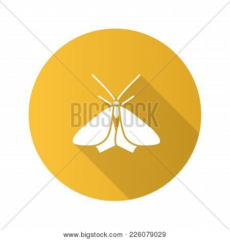 Moth Flat Design Long Shadow Glyph Icon. Butterfly. Insect. Vector Silhouette Illustration