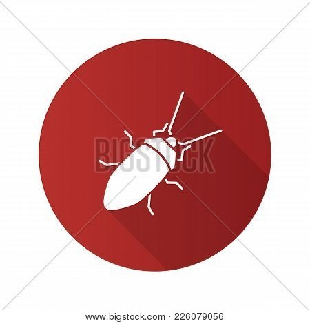 Cockroach Flat Design Long Shadow Glyph Icon. Insect. Vector Silhouette Illustration