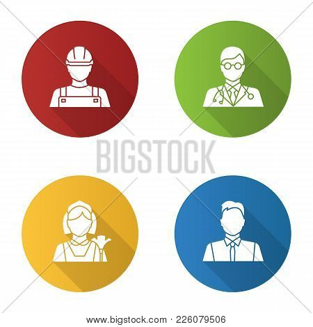 Professions Flat Design Long Shadow Glyph Icon. Occupations. Builder, Doctor, Maid, Showman, Office