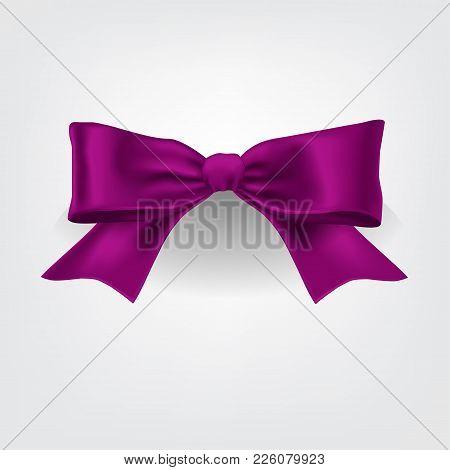 Vector Violet Satin Ribbon On White Background. Violet Bow. Package Decoration Template.