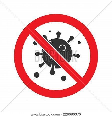 Forbidden Sign With Virus Particle Glyph Icon. Stop Silhouette Symbol. Antiviral Immunity. Negative