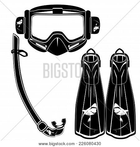 Diving Flippers And Mask With Snorkel Vector Illustration Isolated On White Background. Black Templa