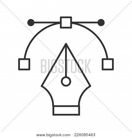 Fountain Pen Nib Linear Icon. Thin Line Illustration. Computer Pen Tool. Contour Symbol. Vector Isol