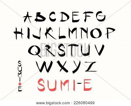 Hand Lettering Alphabet Design Handwritten Brush Calligraphy Cursive Font Vector Illustration Uppe