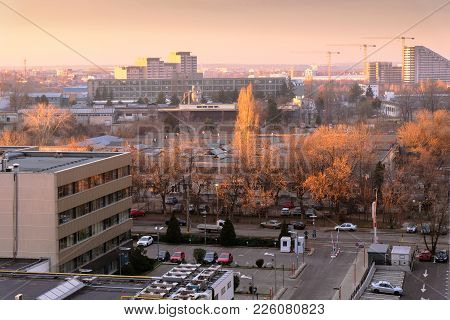 Bucharest, Romania - December 29, 2017: Aerial View Over Pipera District, Business And Industrial Ur