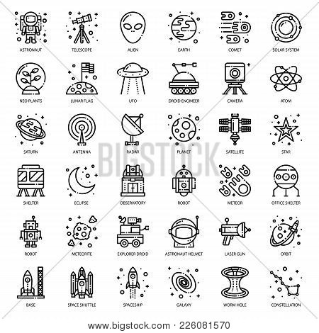 Astronomy, Pixel Perfect Outline Icon, Isolated On White Background