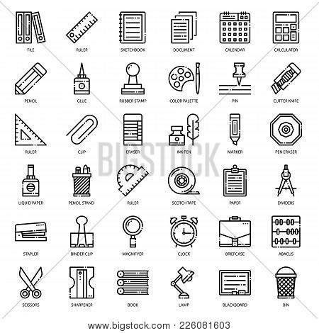 Stationary, Pixel Perfect Outline Icon, Isolated On White Background