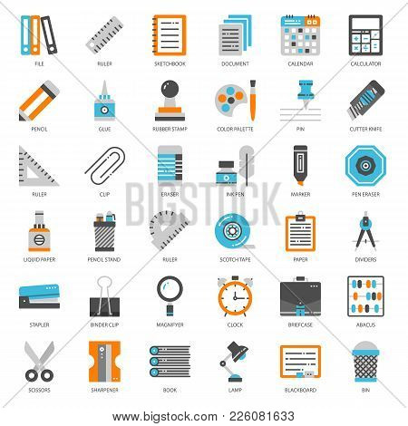 Stationary, Pixel Perfect Flat Icon, Isolated On White Background