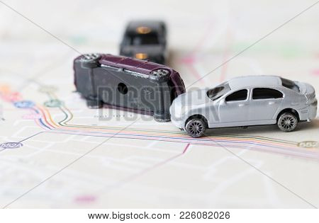 Three Miniature Cars Accident Crash On Road, Insurance Case And Broken Toys Auto Car On On Bangkok C