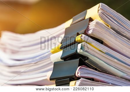 Unfinished Documents Stacks Of Paper Files On Office Desk For Report Papers, Piles Of Unfinish Sheet