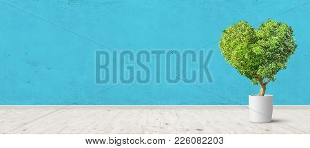 Vintage Room Interior With Herat Shaped Plant In Pot Blue Concrete Wall And Wood Floor Background. W