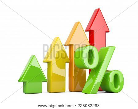 Shiny And Glossy Percent Symbol With An Red, Green, Orange And Yellow Arrow Up. Bussines Growing Con