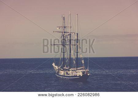 Big Sailing Ship In Blue Ocean, Vintage Filter