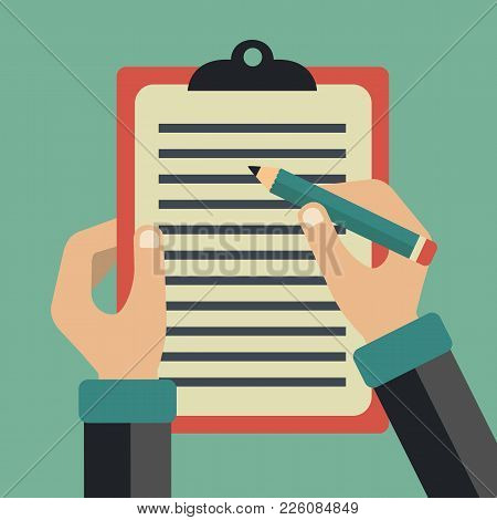 Hands Of A Businessman. Sign A Contract. Signing Agreement. Business Concept In Flat Vector Design.