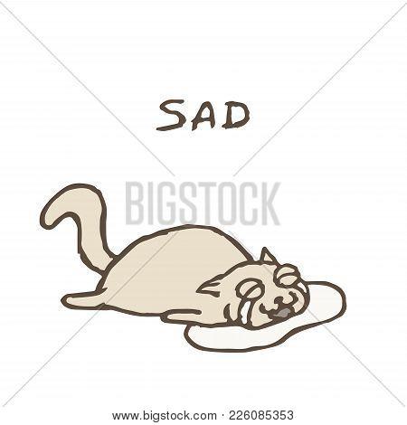 Sad Gray Cat Tik Lies In Tears. Bad Day. Vector Illustration. Cute Pet Character.