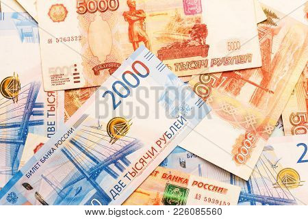 New Russian Banknotes In Denominations Of 2000 And 5000 Rubles Close-up, Top View