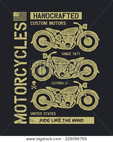 Hand Drawn Vintage Motorcycle. Vector Illustration. Vector Background