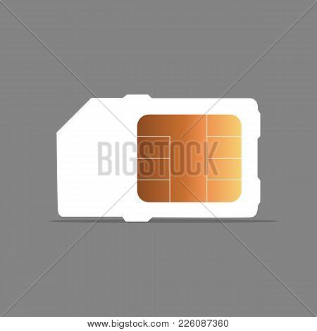 Vector Mobile Cellular Phone Sim Card Chip Isolated On Background