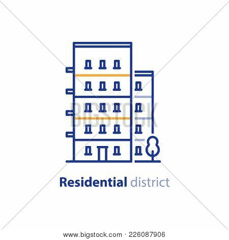Real Estate, Residential District, Apartment Building, Neighborhood Concept, Group Of Houses Line Ic